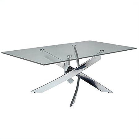"Fahrenheit 28""X47"" Rectangular Glass Top Coffee Table in Chrome"