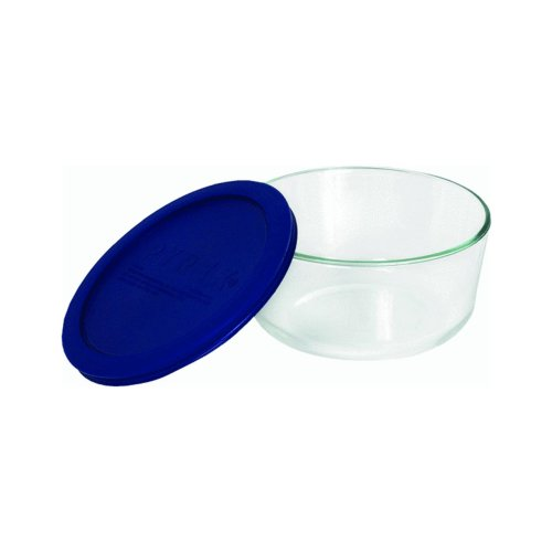 Storage 4-Cup Round Dish with Dark Blue Plastic Cover in Clear