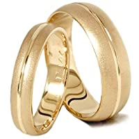 Matching His Hers Brushed 14K Gold Wedding Band Ring