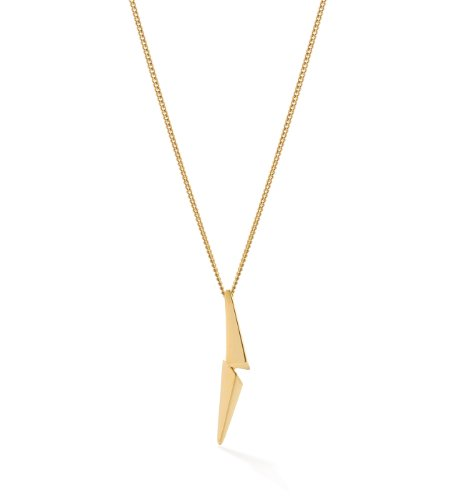 Oak Fine Jewellery Lovestruck Sterling Silver Pendant with Gold Vermeil Curb Chain of Length 18 Inch