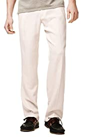 Linen Blend Straight Leg Regular Fit Trousers