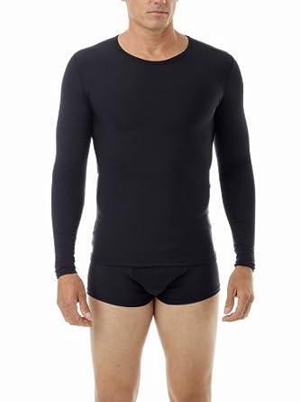 Underworks Mens Microfiber Light Compression Crew Neck Long Sleeves T-shirt, Small, Black