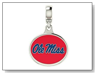 Mississippi OLE MISS Collegiate Drop Charm Fits Most European Style Bracelets Including Chamilia Kera Troll and More. High Quality Drop in Stock for Fast Shipping.