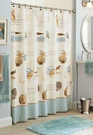 Amazon.com - Beach Coastal Seashell Nautical Fabric Shower Curtain -