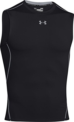 Under Armour Men's HG Sleeveless Compression T-Shirt - Black/Steel, Medium