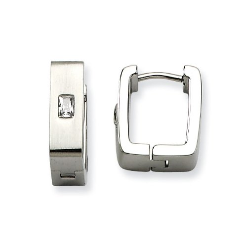 Stainless Steel Satin With CZ Square Hinged Earrings - JewelryWeb