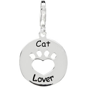 Clevereve's Sterling Silver 19.89 Od Heart U Back Cat Lover Paw Charm