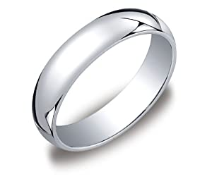 Men's Platinum 5mm Traditional Plain Wedding Band with Luxury High Polish, Size 8.5