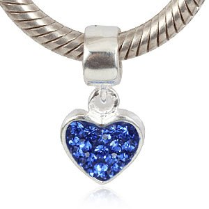 Love Heart Dangle With Sapphire Color Austrian Crystal September Birthstone Authentic 925 Sterling Silver Bead Fits Pandora Chamilia Biagi Troll Charms Europen Style Bracelets