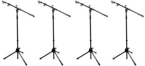 (4) Rockville Rvmic1 Telescoping Microphone Stands Dual Telescope Boom & Tripod Base