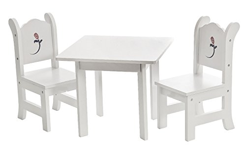 18 Inch Doll Table And Chairs Set | White Furniture With Painted Rose | Square Table Fits American Girl Dolls
