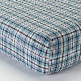 Bacati - Boys Stripes and Plaids Blue Plaids Crib Fitted Sheet