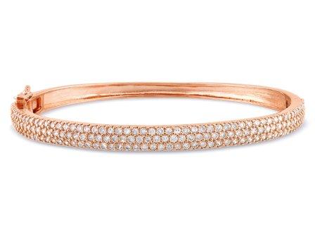 Sterling Silver 5 CT TGW Round Cubic Zirconia Bracelet Pink Rhodium Plating Bangle