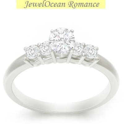 0.58 Carat Cheap Diamond Engagement Ring with Round cut Diamond on 14K White gold