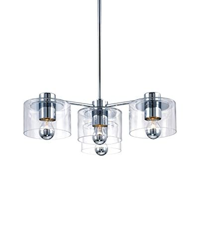 Sonneman Lighting Transparence 4-Light Cluster Pendant, Polished Chrome/Clear