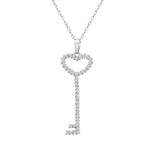 Sterling Silver Cubic Zirconia Cz Key Pendant Necklace