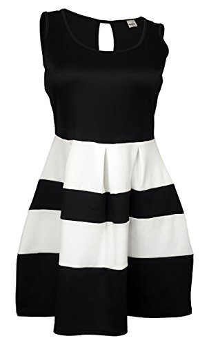eVogues Plus size Color Block Flare Mini Dress Black White - 3X