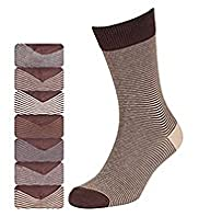 7 Pairs of Cotton Rich Freshfeet™ Feeder Striped Socks with Silver Technology