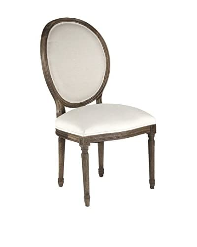 Zentique Medallion Side Chair, White/Brown