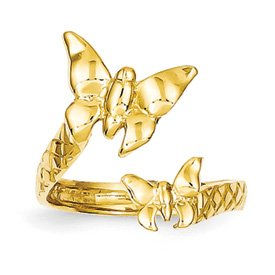 Genuine IceCarats Designer Jewelry Gift 14K Duo Butterflies Ring Size 6.00