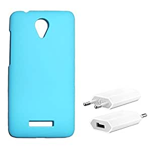 Chevron Rubberized Back Cover Case for Micromax Canvas Spark Q380 with USB Mobile Wall Charger (Aqua Blue)
