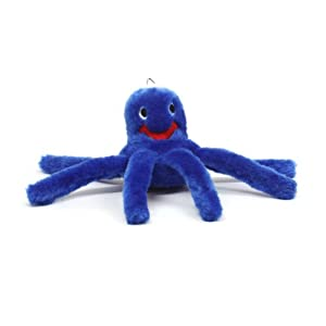 Kyjen PP01101 Octopus Junior Plush Dog Toys Squeak Toy, Small, Blue