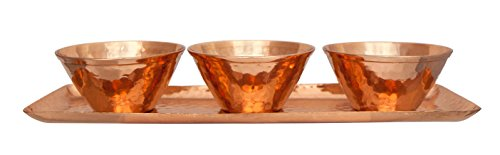 Premium Quality Hammered Copper Bowls & Rectangular Party Serving Tray Set - Handmade Charger Plate Housewares - Set of 4 Pieces - 100% Pure Heavy Gauge Copper - By Alchemade (Pie Dish Green Fiesta compare prices)