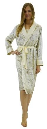 Silk Long Robe - Lace Print
