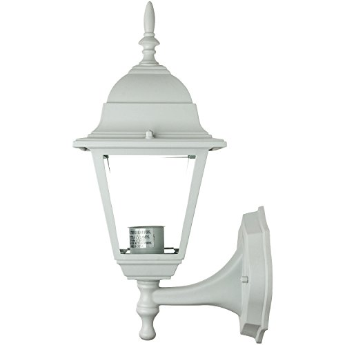 Sunlite ODI1140 16-Inch Decorative Post Style Wall Mount Up Outdoor Fixture, White Finish with Clear Glass