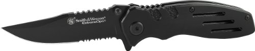 Smith and Wesson SWA24S Extreme Ops Linerlock Black Clip Point Blade Folding Knife
