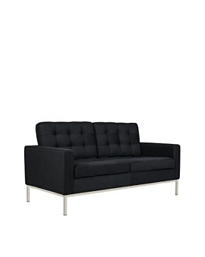LeisureMod Modern Lorane Wool Loveseat, Black