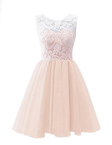 RohmBridal Women's Short Lace Tulle Prom Homecoming Dress Nude Pink Size 14