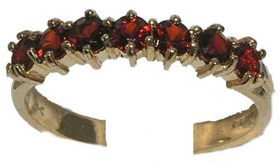 14K Yellow Gold Ladies Deep Red Garnet Anniversary Eternity Ring - Size 12 - Finger Sizes 5 to 12 Available - Suitable as an Anniversary ring, Engagement ring, Eternity ring, or Promise ring