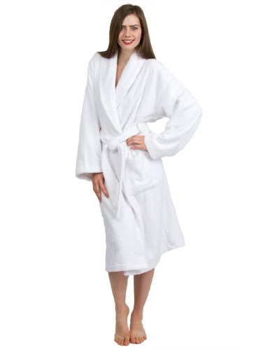 TowelSelections Turkish Terry Bathrobe - 100% Egyptian Cotton, Shawl Collar Terry Robe for Women and Men, Made in Turkey, White, S/M