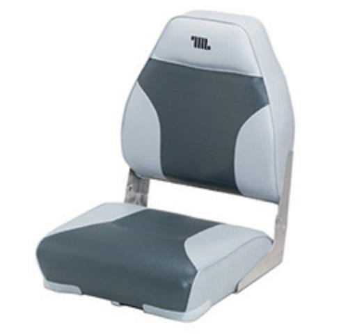 Standard High Back Boat Seat with Logo, Grey/Char