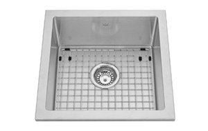 "Kindred 17.5"" Stainless Steel Semi-Recess Kitchen Sngle Bowl, Topmount, Includes Grid"