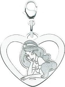 14K WG Disney Princess Jasmine Heart Charm Jewelry New