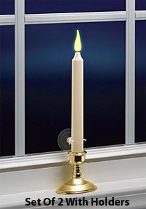 Set Of 2 Ivory Battery Operated Candles 9 Inch - Timer - Carlon