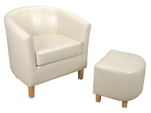 Shankar Bonded Leather Tub Chair Set with Footstool, Ivory