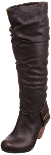 Fly London Women's Riffed Leather Dark Brown/Dark Brown Knee High Boots P142017004 5 UK