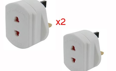 2 X Travel Plug UK Shaver Adaptor/Plug Compatible With Shaver,Toothbrush,Continental - Lifetime Warranty
