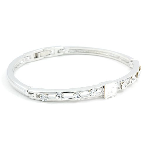 Perfect Gift - High Quality Glistening Bangle with Silver Swarokvski Crystals and CZ Bead (1634) for Birthday Anniversary Free Standard Shipment Clearance