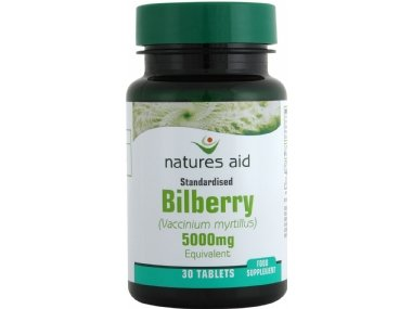 Natures Aid Bilberry 5000Mg 90 Tablets - Eye Strain, Night Blindness, Bruising