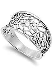 Victorian Leaf Filigree Vintage Style Ring Sterling Silver 925 (Sizes 3-15)