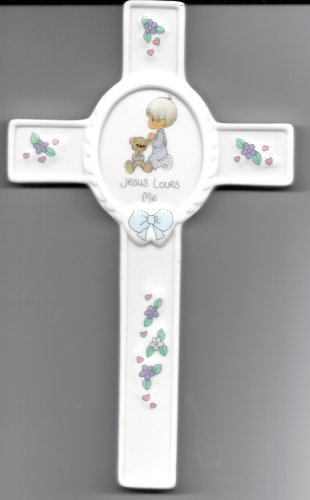 """Precious Moments """"Jesus Loves Me"""" Boy Praying With Bear Wall Cross front-1005454"""