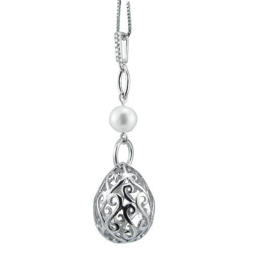 Sterling Silver Pearl and Diamond Accent Pendant Necklace, 18