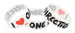 5 Pieces of Glow in the Dark I Love One Direction One Inch Wristband 1