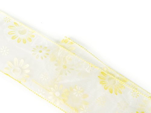 Sheer Yellow Flower Print Wired Craft, Wedding & Holiday Ribbon 2.5