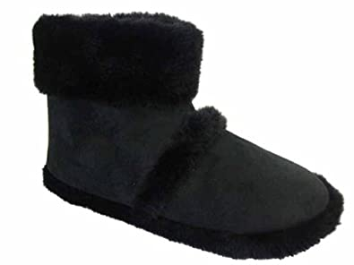 Men's Coolers Furry Ankle Boot Slippers Sizes 7 -12 (Small UK 7-8, Black)