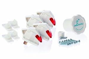 Dreambaby Mag Lock - Seguros para puertas y cajones (4 seguros y 1 llave), color blanco